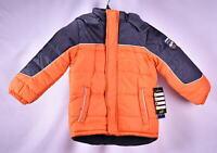 iXtreme Little Boys' Tonal Geo Print Winter Puffer Jacket - ORANGE