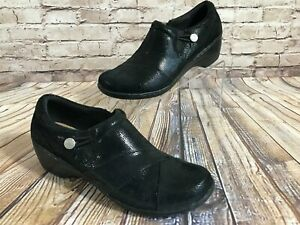 CLARKS Slip on Loafer Cushion Soft Shoes BLACK Size 11 M Excellent Condition