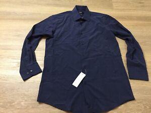mens jones new york button up dress shirt slim fit medium 15 15.5 32 33 blue