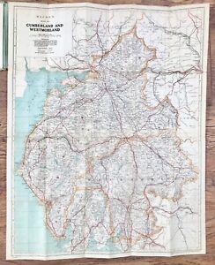 BACON'S CYCLING COUNTY MAP CUMBERLAND & WESTMORLAND LAKE DISTRICT EDWARDIAN ERA