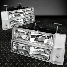 FOR 1988-1993 CHEVY C/K PICKUP TRUCK CHROME HOUSING HEADLIGHT+BUMPER CORNER LAMP