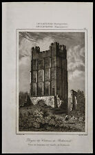 1842, engraving antique Dungeon of the Castle of Richmond / England engraving