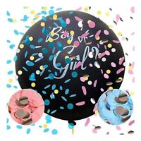 "Gender Reveal Black 36"" Balloon Baby Girl Pink  Or Baby Boy Blue Confetti inc"
