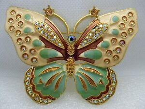 Big Kenneth Jay Lane KJL Butterfly Brooch Pin Enamel & Rhinestones