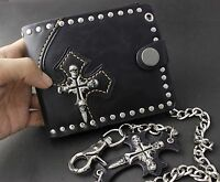 Skull Cross Mens Black Leather Punk Rocker Biker Wallet Purse + Long Key Chain