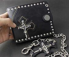Skull Cross Mens Black Leather Punk Rocker Biker Wallet Purse + Long Key Chain