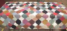 """Antique Patchwork Log Cabin Type Quilt, Hand Sewn, 66"""" x 74"""", Found in a Trunk"""