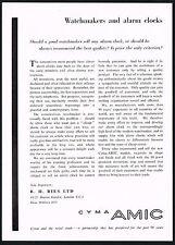 1950s Vintage 1957 Cyma Amic 11 102 220 & 221 Clocks 2-Page Clock Art Print Ad