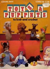Leisure Arts 136 Toys Puppets Knitting Crochet Patterns Clown Elephant Lion 1978