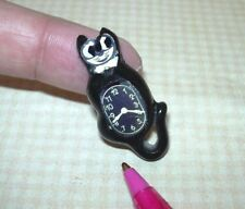 Miniature 60's-Style Black Cat Clock w/Paper Face(s): DOLLHOUSE 1/12