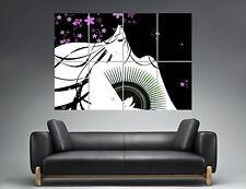 Geisha asia Morado 02 Wall Arte Cartel Grande formato A0 Largo Print