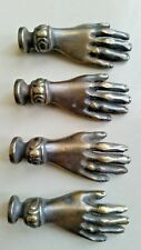 "4 Brass Antique Vtg style Ladies dainty Hands Cabinet Drawer Knob Pull 2"" #K12"