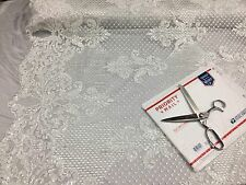 Mesh lace fabric Bridal Wedding White Metallic Sequins - Scalops. By The Yard