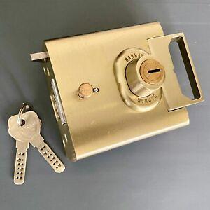 Banham L2000 Rim Deadbolt 2 Keys Night latch Front Door Locks Satin Brass Gold