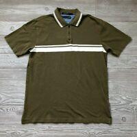 Tommy Hilfiger Green Striped Polo Shirt Men's L L68