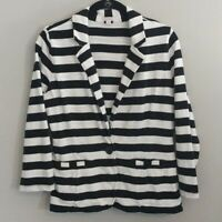 Caslon Striped Blazer Jacket Button Black White 3/4 Sleeve Womens Size M