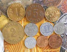 10 Coins SET - ICELAND ISLAND - Brilliant UNC / UNC /aUNC - animal sea creatures