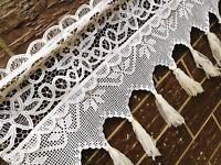 Victorian~Battenburg Lace Crochet Lace Window Curtain Valance Cafe Curtain~White
