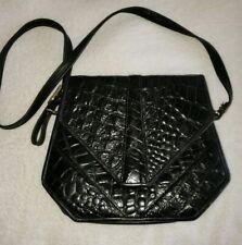 Roche Leather Alligator embossed Shoulder Messenger Bag  compartments Black EUC