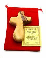 """Holy Land hand carved olive wood Comfort Cross in BETHLEHEM 4"""" velvet gift bag"""