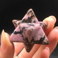 Mini Natural Rhodonite Quartz Carved Sacred Merkaba Star Meditation Healing 1Pc