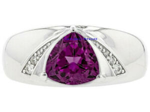 Natural Amethyst & CZ Gemstones with 925 Sterling Silver Ring For Men's