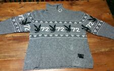 Marc Ecko Hugh Hefner Playboy Sweater Men's 2XL XXL 1972 Bunny Gray Wool ski top
