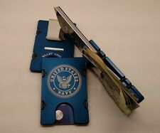 U.S. Navy, Aluminum Wallet/Credit Card Holder, RFID Protection, Blue