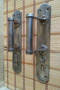 Vintage doorknob. Old steel, rusty doorknob. Old decor. Door handle USSR 50-60s.