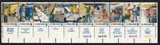 USA 1973 Tribute to Postal Workers, MNH/MH-DG #d strip of 10 + labels, sc#1498a