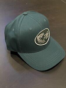 CC FILSON Denim Leather Strapback Logger Cap Hat Fish Logo NEW