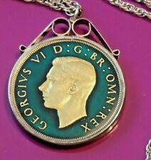 More details for vintage fine enamel george vi silver crown coin 1937 sterling silver necklace