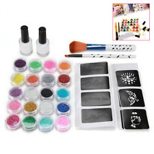 20 Colors Glitter Powder 48 PCS Stencil Glue Brush ~ DIY Temporary Tattoo Kit ~
