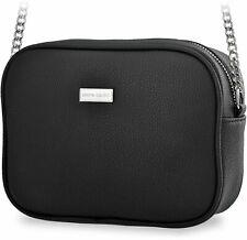 klassische Schultertasche Pierre Cardin Damentasche mit Kettenriemen schwarz