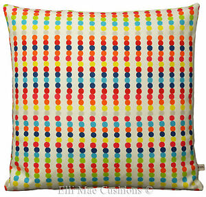 A Pair of Harlequin Abacus Designer Fabric Red Blue Orange Cushion Pillow Cover