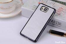 Design Carbon Fiber Hülle für Samsung Galaxy Alpha Tasche - Silber (H3USI)