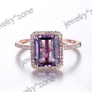 10K Rose Gold 9x7mm Emerald Genuine Amethyst&Diamonds Engagement Wedding Ring