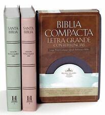 RVR 1960 Biblia Compacta Letra Grande con Referencias, esmeralda sutil simil pie