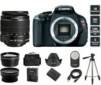 Canon EOS Rebel T3i 600D 18.0MP Digital Camera With 18-55mm (3) Lenses + Tripod