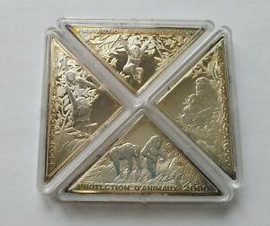 Congo SET 4 x 10 francs 2000 Chimpanzees monkey Silver 2 oz