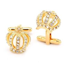 GIFTS FOR MEN Gold Rhinestone Crown Royal Wedding Mens Gold Plated Cufflinks