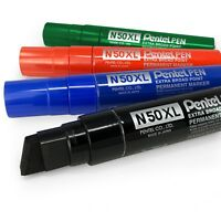 Pentel N50XL Extra Large Broad Permanent Marker – Chisel Tip – 1 of Each Colour