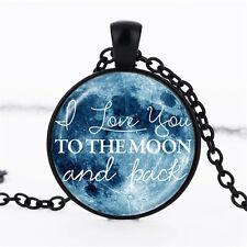 Wholesale Cabochon Glass Black  Chain Pendant Necklace ,Nine planet Starry Sky &