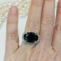 Luxurious Round Black Sapphire Wedding Ring 925 Silver Anniversary Promise Gift