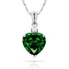 3.07Ct White Sapphire & Heart Emerald Charm Pendant14K White Gold w/Chain