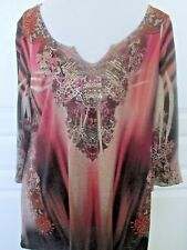 Women's 3/4 sleeve v-neck Pink Grey tunic blouse top,Live&Let Live Size Large