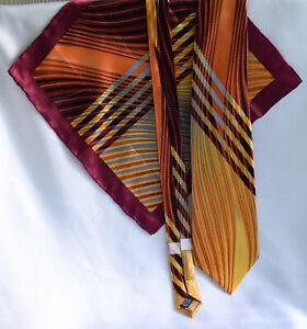 Steven Land Handmade Silk 2 Pc Wide Tie and Pocket Square-Bold Bright Print-LN