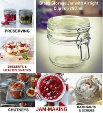 Glass Storage Jars with Airtight Clip Lid 250ml Rubber Seal Preserving Container