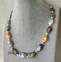 Groß Mehrfarbig barockes Süßwasser Perle Halskette 17-25 zoll