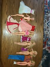 5 Vintage Barbie Dolls1966 Twist Bent knees jointed Tagged Clothes Blonde